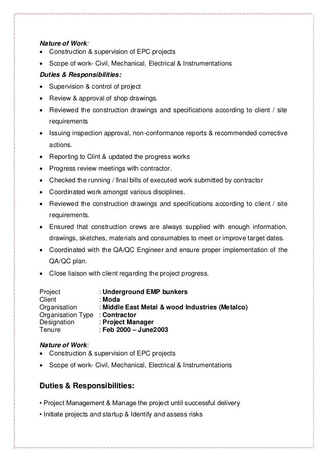 Curriculum Vitae Of Civil Engineer For Construction Manager Or Sr Pr