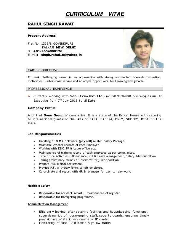 Curriculum Vitae Of Rahul Singh Rawat