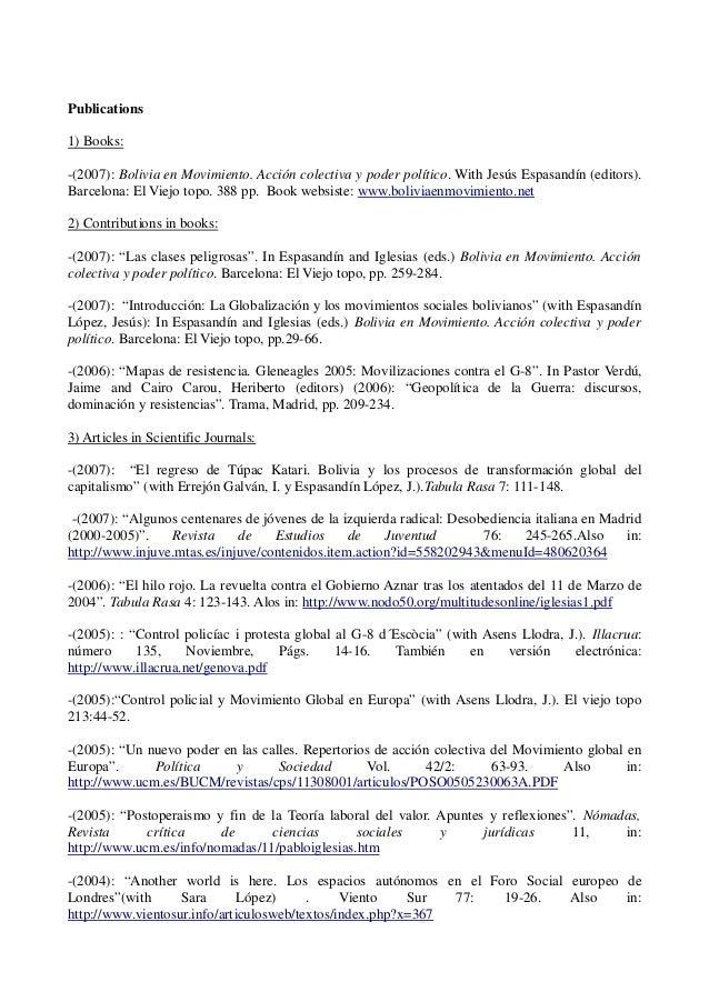 curriculum vitae bolivia pdf