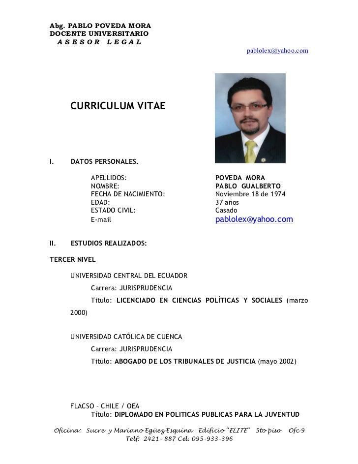 Abg. PABLO POVEDA MORADOCENTE UNIVERSITARIO ASESOR LEGAL                                                         pablolex@...