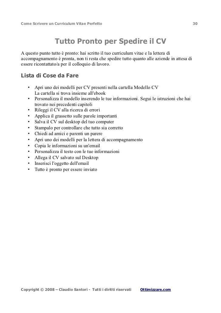 Come Scrivere un Curriculum Vitae Perfetto                                                  30                   Tutto Pro...