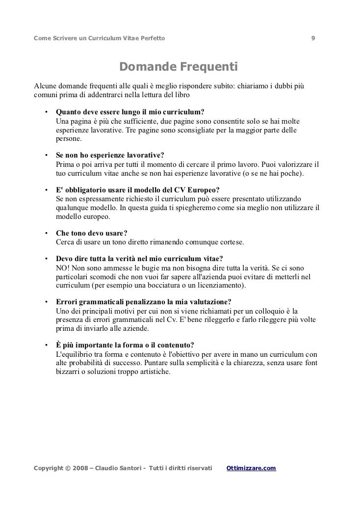 cv europeo studente universitario esempio