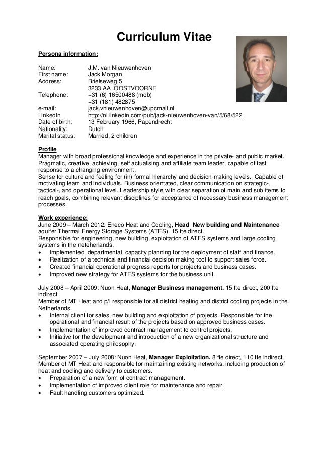 profiel op cv Curriculum Vitae Profiel En Managementstijl V2 Eng 120717