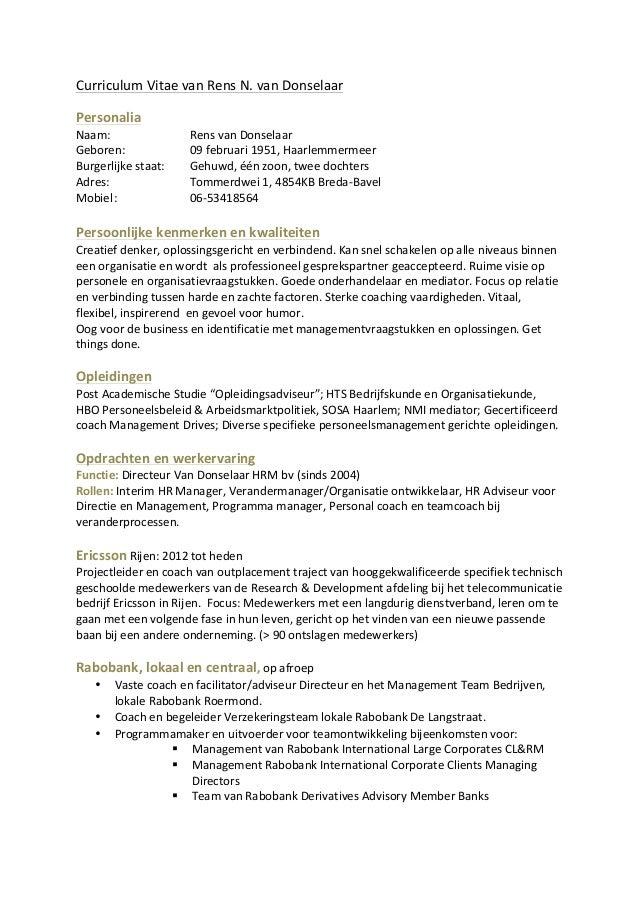 Curriculum Vitae van Rens N. van Donselaar                                            Personalia  ...