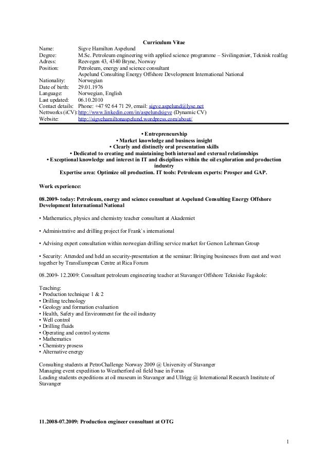 Curriculum vitae reservoir engineer