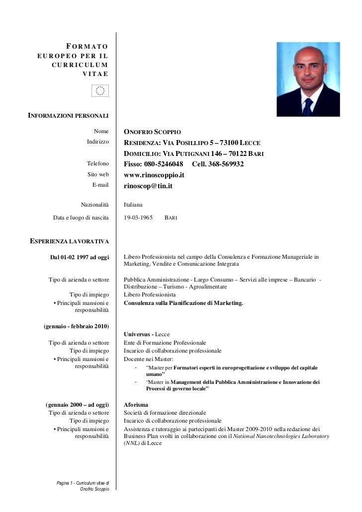 Curriculum Vitae Docente Formato Europeo Firmakoek