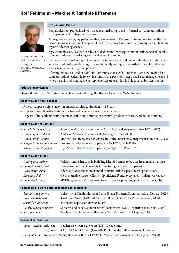 Curriculum Vitae Of Rolf Fehlmann En July 2012