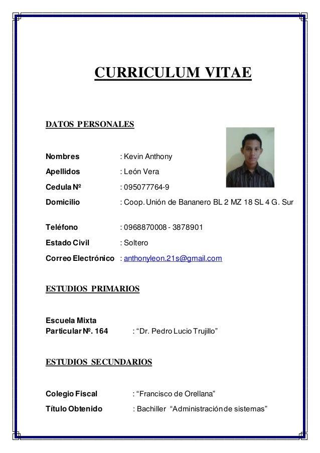 Curriculum Vitae Sr Anthony Leon Vera