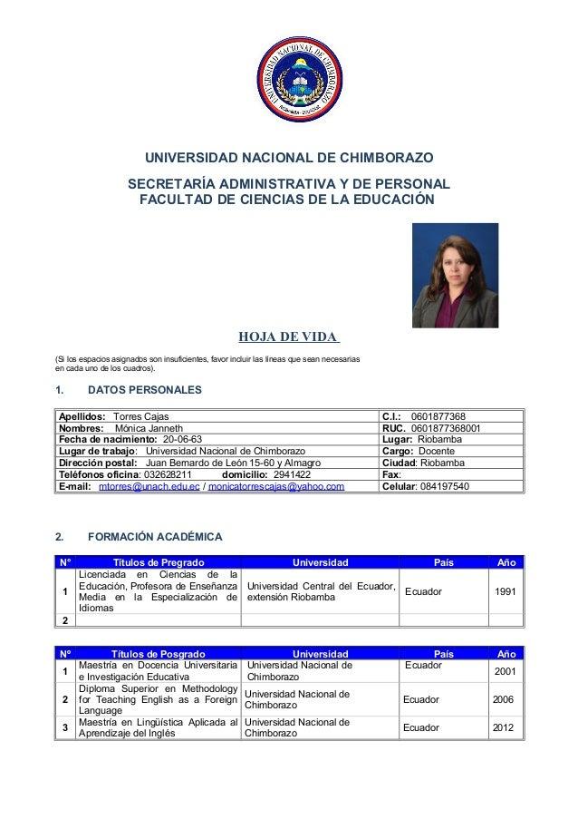 UNIVERSIDAD NACIONAL DE CHIMBORAZO SECRETARÍA ADMINISTRATIVA Y DE PERSONAL FACULTAD DE CIENCIAS DE LA EDUCACIÓN HOJA DE VI...
