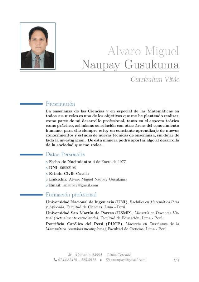 Alvaro Miguel Naupay Gusukuma Currículum Vitáe Presentación La enseñanza de las Ciencias y en especial de las Matemáticas ...