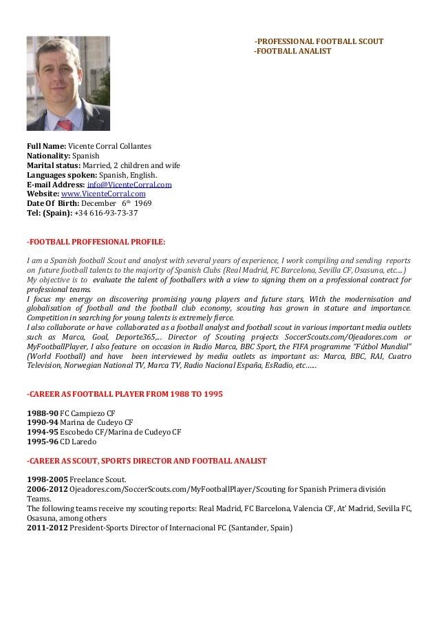 Curriculum Vitae Vicente Corral Deportivo Ingles