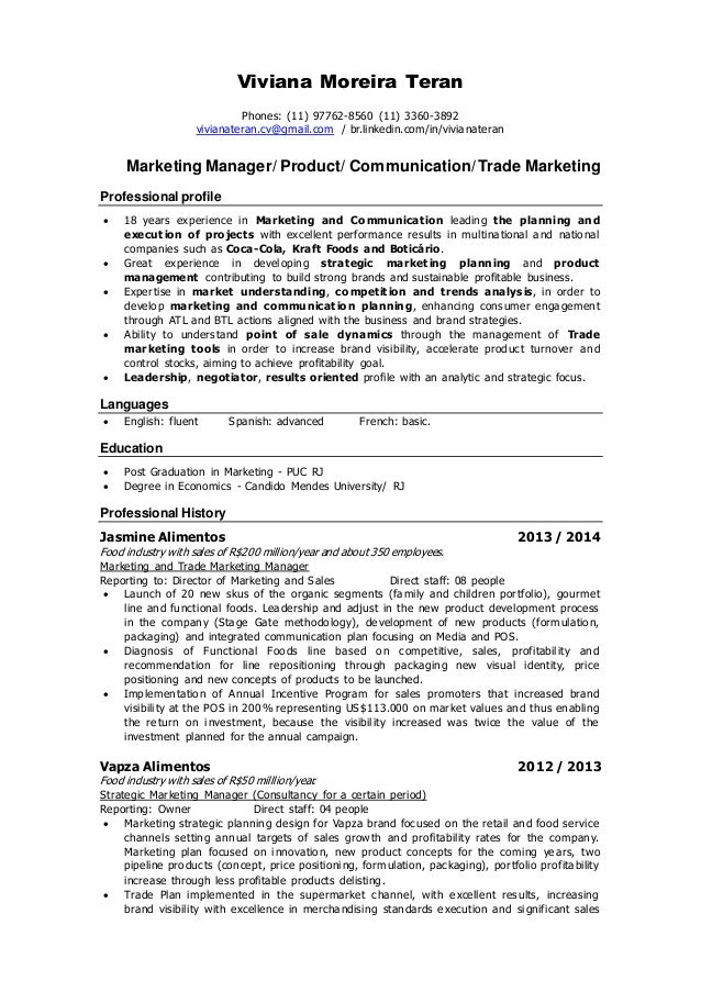 communication marketing resume