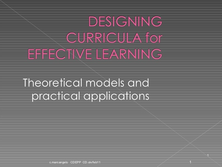 Theoretical models and practical applications c.marcangelo  CDEPP  CD.olv/feb11