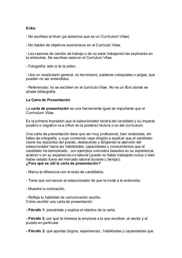 Curriculum y Carta de presentación