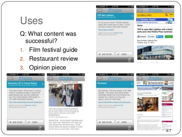 Uses Q: What content was successful? 1. Film festival guide 2. Restaurant review 3. Opinion piece 4/7