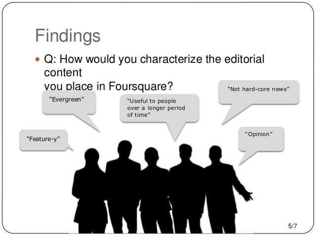 """Findings  Q: How would you characterize the editorial content you place in Foursquare? """"Not hard-core news"""" """"Evergreen"""" """"..."""