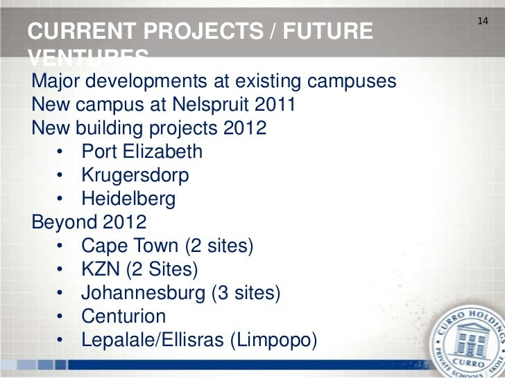 14CURRENT PROJECTS / FUTUREVENTURESMajor developments at existing campusesNew campus at Nelspruit 2011New building project...