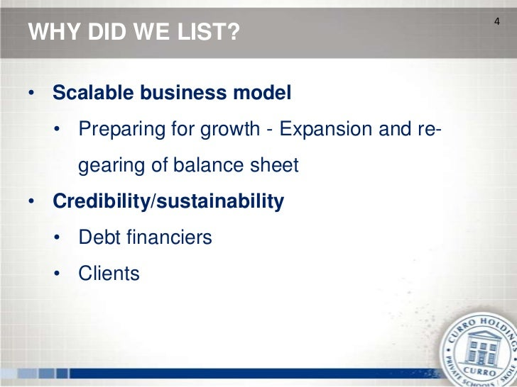 4WHY DID WE LIST?• Scalable business model  • Preparing for growth - Expansion and re-     gearing of balance sheet• Credi...