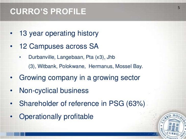 5CURRO'S PROFILE• 13 year operating history• 12 Campuses across SA  •   Durbanville, Langebaan, Pta (x3), Jhb      (3), Wi...