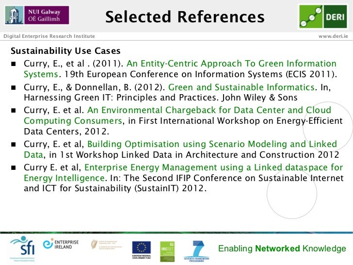 Selected ReferencesDigital Enterprise Research Institute                                      www.deri.ie  Sustainability ...