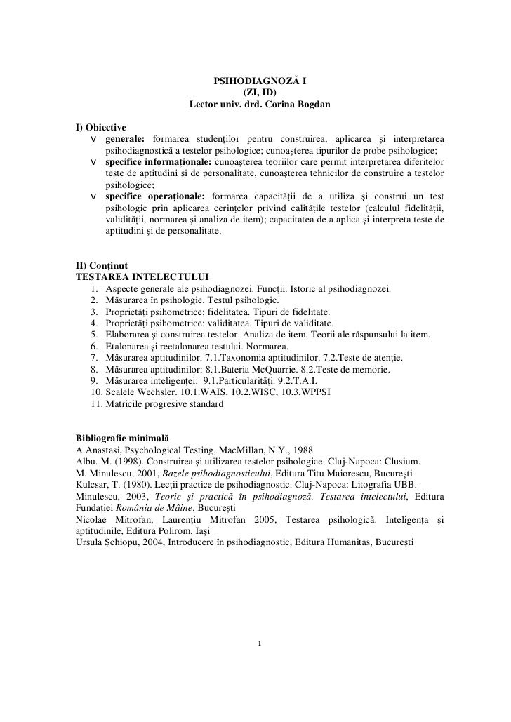 PSIHODIAGNOZĂ I                                           (ZI, ID)                              Lector univ. drd. Corina B...