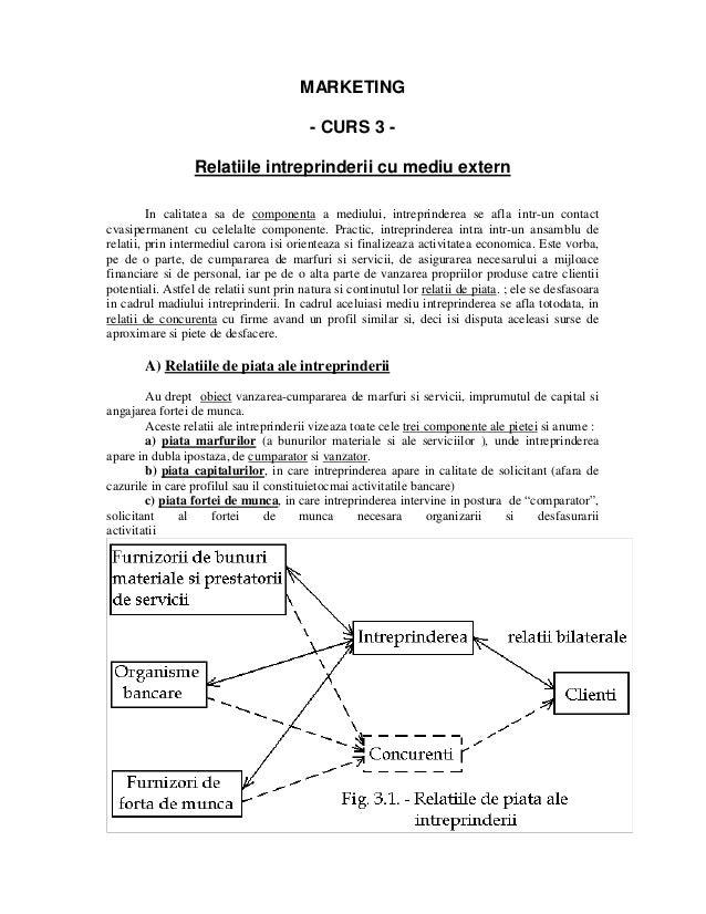 MARKETING - CURS 3 Relatiile intreprinderii cu mediu extern In calitatea sa de componenta a mediului, intreprinderea se af...