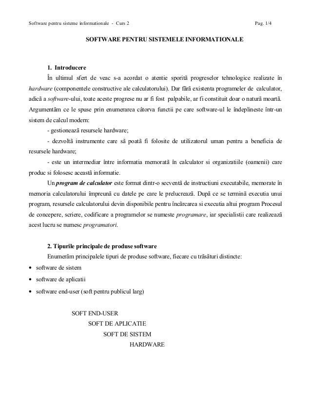 Software pentru sisteme informationale - Curs 2                                                 Pag. 1/4                  ...