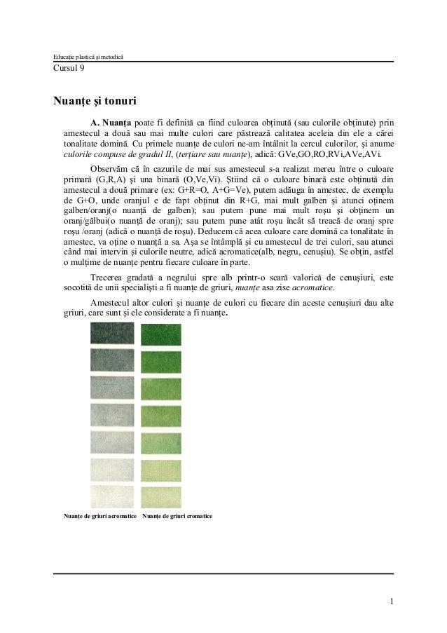 Educaţie plastică şi metodică  Cursul 9  Nuanţe şi tonuri A. Nuanţa poate fi definită ca fiind culoarea obţinută (sau culo...