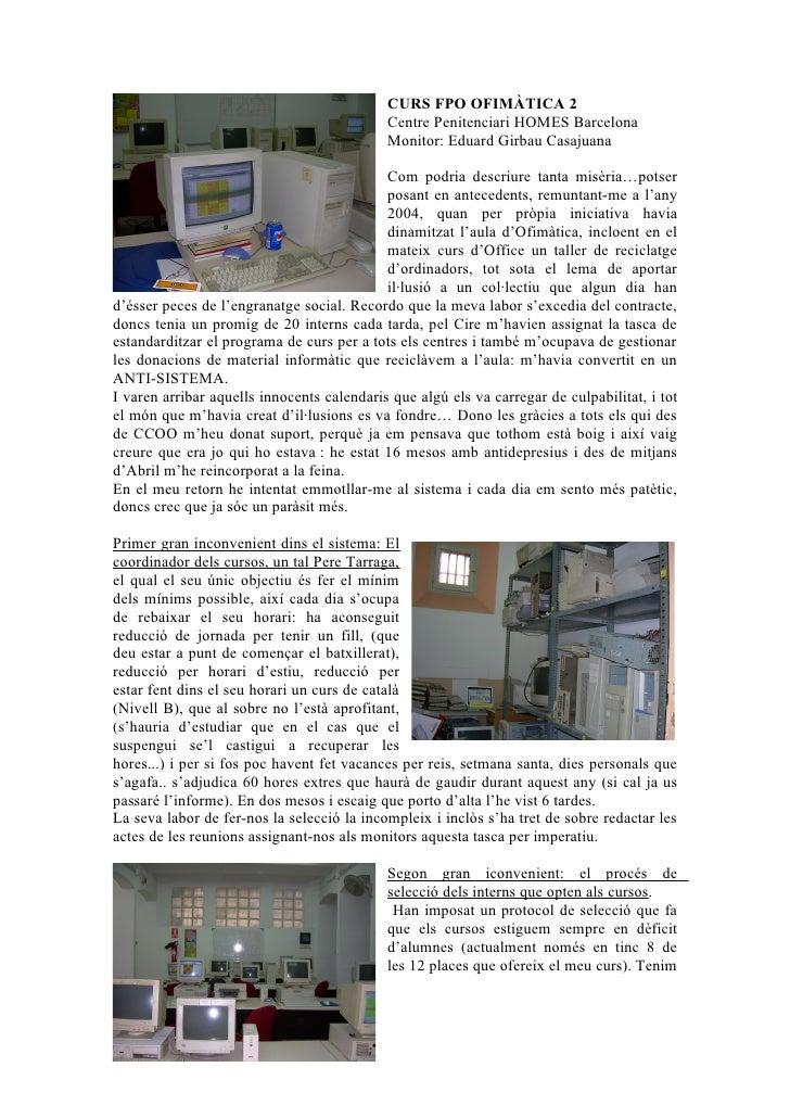 CURS FPO OFIMÀTICA 2                                             Centre Penitenciari HOMES Barcelona                      ...