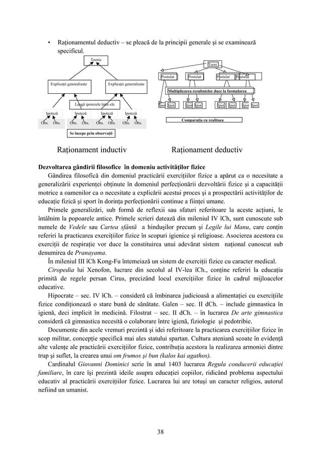38 • Raţionamentul deductiv – se pleacă de la principii generale şi se examinează specificul. Dezvoltarea gândirii filosof...