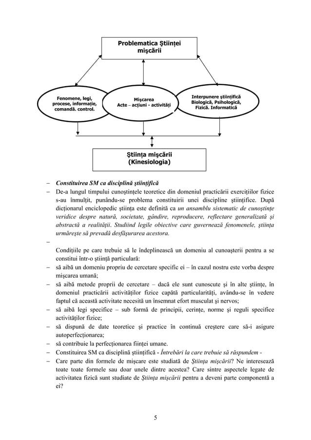 5 − Constituirea SM ca disciplină ştiinţifică − De-a lungul timpului cunoştinţele teoretice din domeniul practicării exerc...