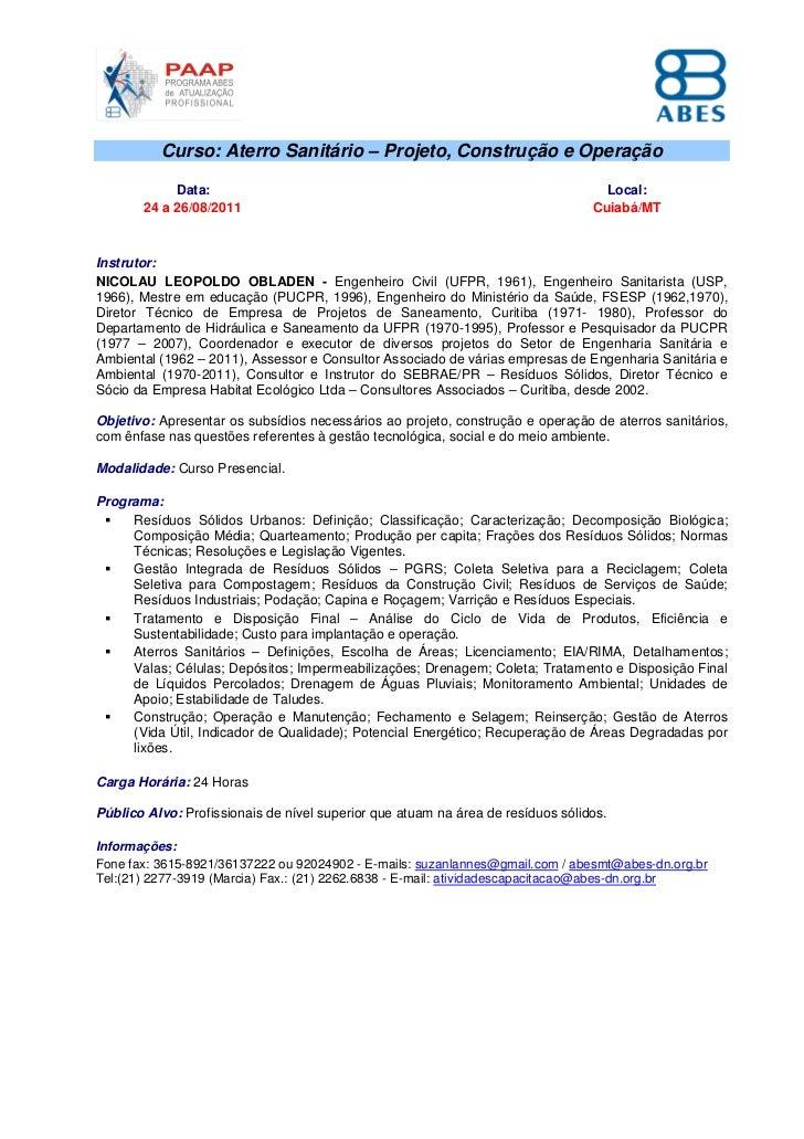 Curso: Aterro Sanitário – Projeto, Construção e Operação            Data:                                                 ...