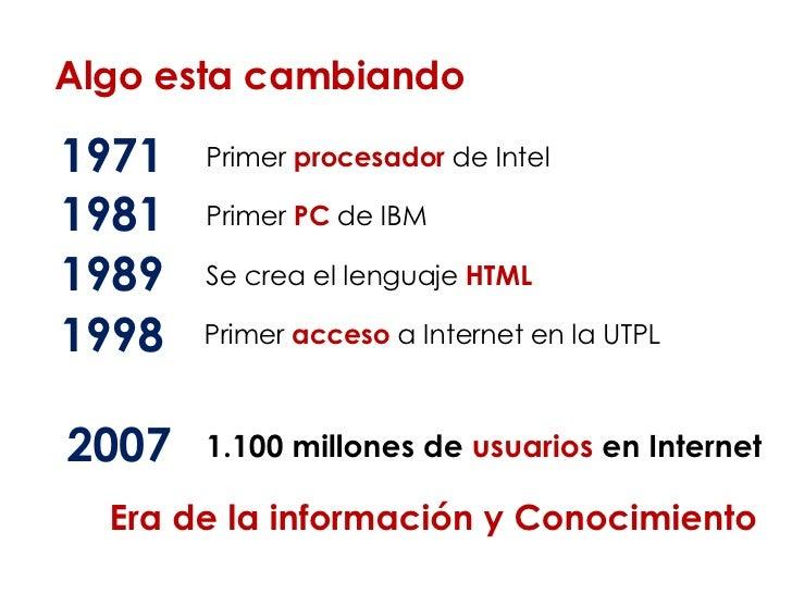 Algo esta cambiando 1971 Primer  procesador   de Intel 1981 Primer  PC  de IBM 1989 Se crea el lenguaje  HTML 1998 Primer ...