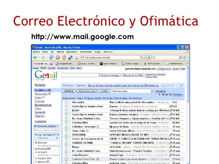 http://www.mail.google.com Correo Electrónico y Ofimática