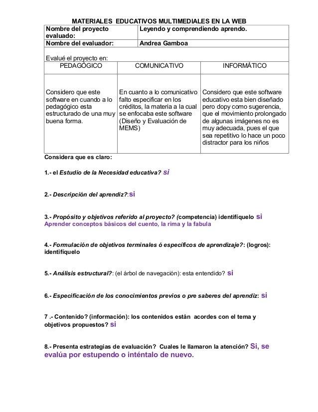 MATERIALES EDUCATIVOS MULTIMEDIALES EN LA WEBNombre del proyecto     Leyendo y comprendiendo aprendo.evaluado:Nombre del e...