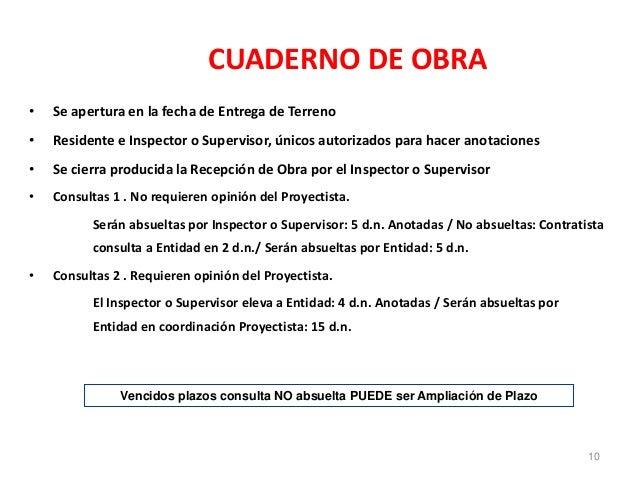 CUADERNO DE OBRA • Se apertura en la fecha de Entrega de Terreno • Residente e Inspector o Supervisor, únicos autorizados ...
