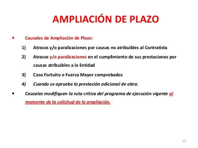 AMPLIACIÓN DE PLAZO  Causales de Ampliación de Plazo: 1) Atrasos y/o paralizaciones por causas no atribuibles al Contrati...