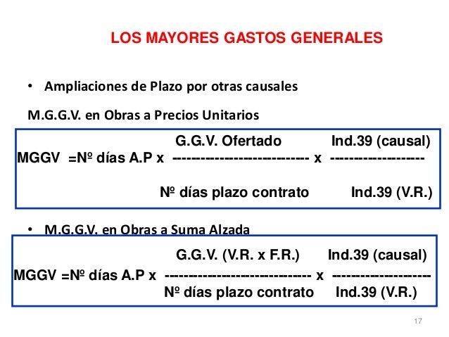 LOS MAYORES GASTOS GENERALES • Ampliaciones de Plazo por otras causales M.G.G.V. en Obras a Precios Unitarios • M.G.G.V. e...