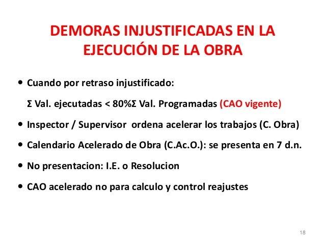 DEMORAS INJUSTIFICADAS EN LA EJECUCIÓN DE LA OBRA  Cuando por retraso injustificado: Σ Val. ejecutadas < 80%Σ Val. Progra...