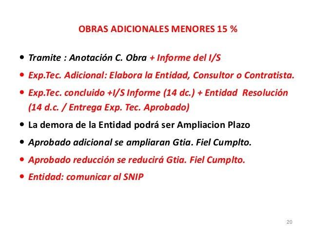OBRAS ADICIONALES MENORES 15 %  Tramite : Anotación C. Obra + Informe del I/S  Exp.Tec. Adicional: Elabora la Entidad, C...