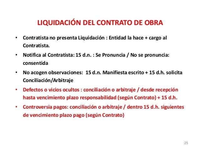 LIQUIDACIÓN DEL CONTRATO DE OBRA • Contratista no presenta Liquidación : Entidad la hace + cargo al Contratista. • Notific...