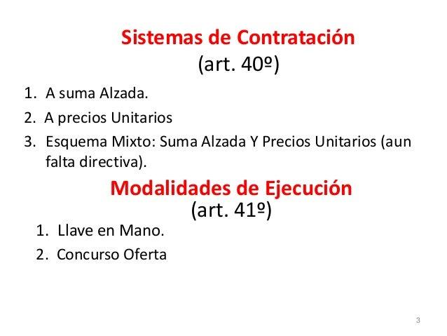 Sistemas de Contratación (art. 40º) 1. A suma Alzada. 2. A precios Unitarios 3. Esquema Mixto: Suma Alzada Y Precios Unita...