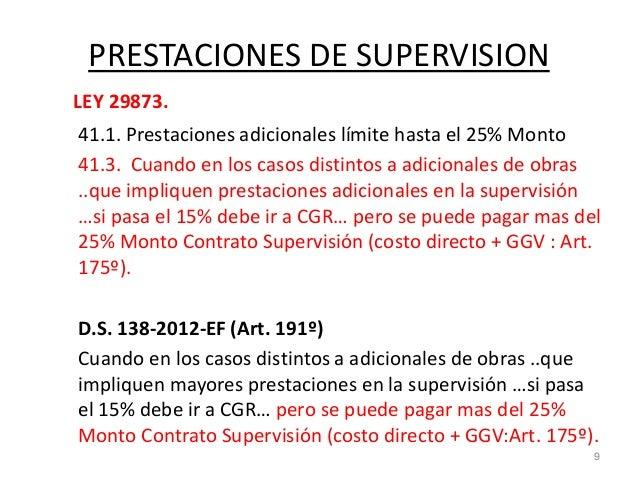PRESTACIONES DE SUPERVISION LEY 29873. 41.1. Prestaciones adicionales límite hasta el 25% Monto 41.3. Cuando en los casos ...