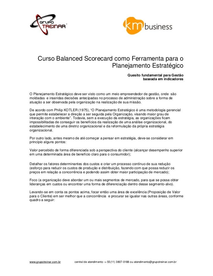 Curso Balanced Scorecard como Ferramenta para o                              Planejamento Estratégico                     ...