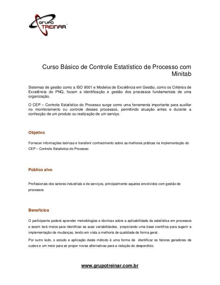 Curso Básico de Controle Estatístico de Processo com                                                       MinitabSistemas...