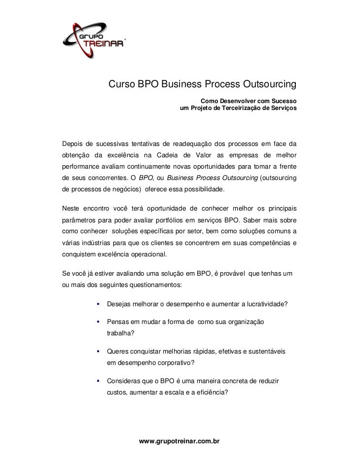 Curso BPO Business Process Outsourcing                                            Como Desenvolver com Sucesso            ...