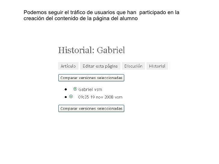 Podemos seguir el tráfico de usuarios que han  participado en la creación del contenido de la página del alumno