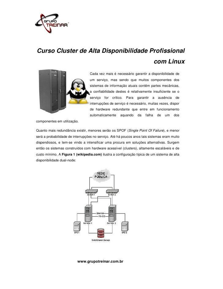 Curso Cluster de Alta Disponibilidade Profissional                                                                        ...