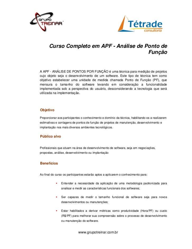 Curso Completo em APF - Análise de Ponto de                                          FunçãoA APF - ANÁLISE DE PONTOS POR F...