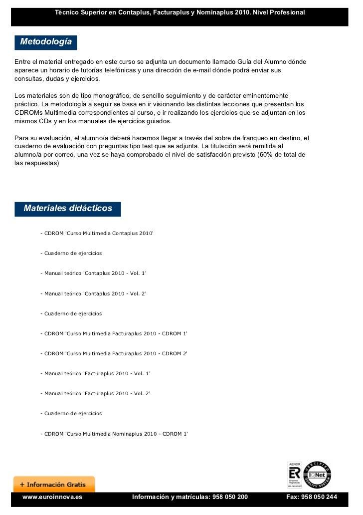 contaplus facturaplus nominaplus 2010